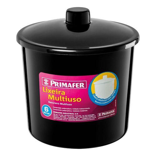 Lixeira De Banheiro Plástico 6l C/tampa Preta PRIMAFER