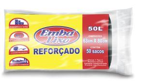 Saco De Lixo 50 Litros Preto Profissional 50 Sacos EMBALIXO