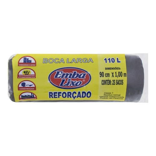 Saco De Lixo 110 Litros Preto Profissional 25 Sacos EMBALIXO