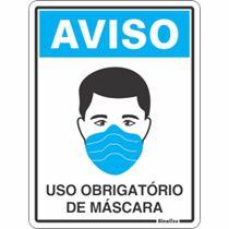 """Placa Sinalização Poliest. 15X20 """"USO OBRIGATORIO DE MASCARA"""" COV01"""