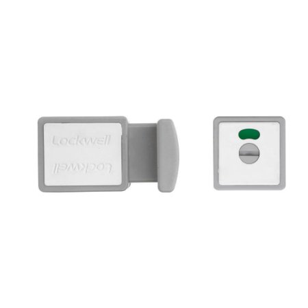 Trinco WC Livre/Ocupado 35mm PVC Branco Cinza LOCKWELL 823