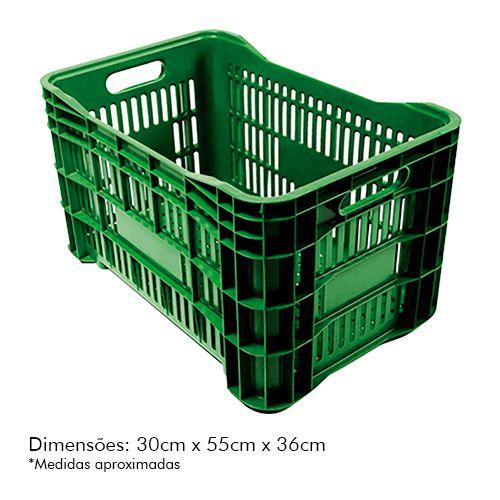 Caixa Plástica p/ Mercado 52lt Verde PLASTAND