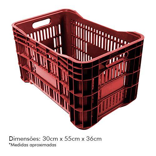 Caixa Plástica p/ Mercado 52lt Vermelha PLASTAND