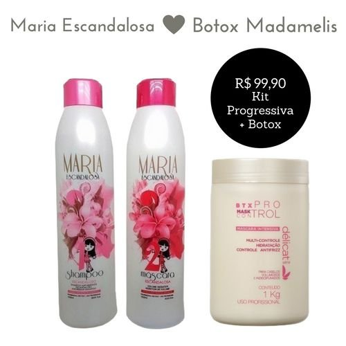 Kit Maria Escandalosa Escova Progressiva 2X1000ml + Botox Madamelis 1kg