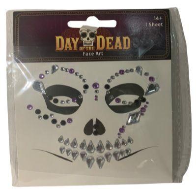 Adereço Adesivo Facial Caveira Halloween Un.