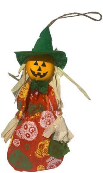 Enfeite Bruxinha Abobora porta Doce 23Cm Halloween Un.