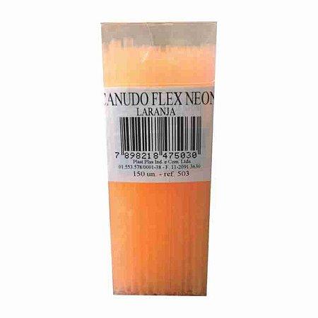 Canudo Flex Laranja Neon C/ 150 Un.