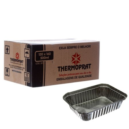 Bandeja em Alumínio 500 ml. Thermoprat Cx C/ 100 Un.