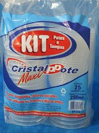 Pote PP Red. 250 ml. C/ Tampa Cristal Pote C/ 25 Un.