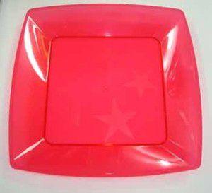 Prato em Acril 15 Cm Qd. Vermelho Plastilania C/ 10 Un.