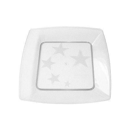 Prato em Acril 15 Cm Qd. Cristal Plastilania Cx C/ 400 Un.