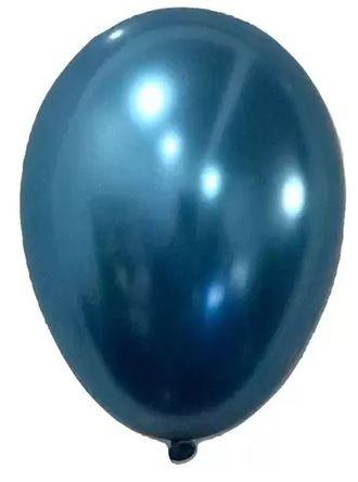 Balão Nº 9 Metalizado Azul São Roque C/ 25 Un