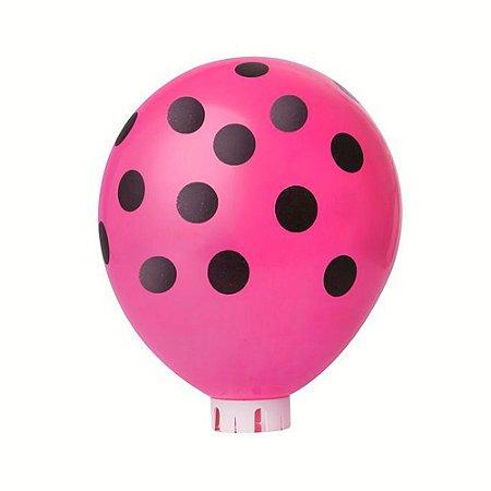Balão Confete Pink C/ Preto Nº 11 Happy Day C/ 25 Un.
