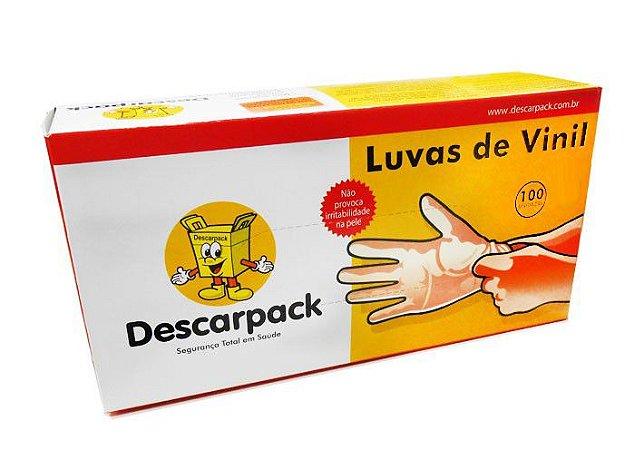 Luva P Vinil C/ Pó Descarpack Cx C/ 100 Un.