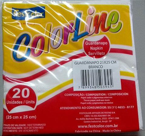 Guardanapo Branco Festcolor 25x25 Cm C/ 20 Un.