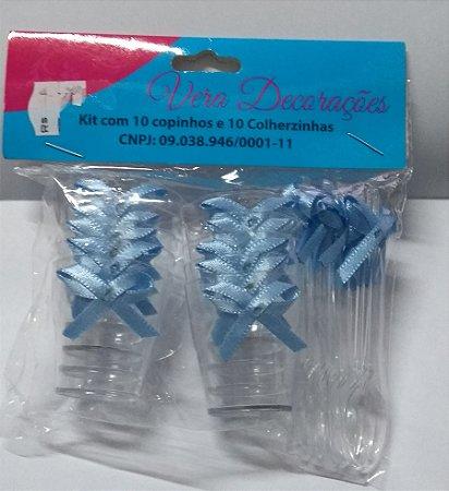 Kit Copo Acrílico 15 Ml + Colher C/ Laço Azul  Pct C/ 10 Un.