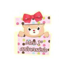 Convite 1º Aniversário Urso Rosa C/ 8 Un.