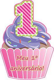 Convite 1º Aniversário Cupcake Rosa C/ 8 Un.