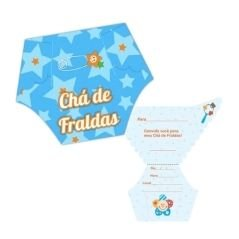 Convite Chá Fralda Azul C/ 8 Un.