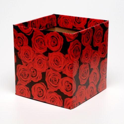 Cachepot Quad. Rosas Verm. Albano 15,3x15,3Cm Un.