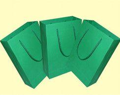 Sacola de Papel Verde (G) 20X15X7,5Cm Kaiamba C/ 10 Un.