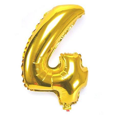Balão Laminado Nº 4 Dourado C/ 40 Cm