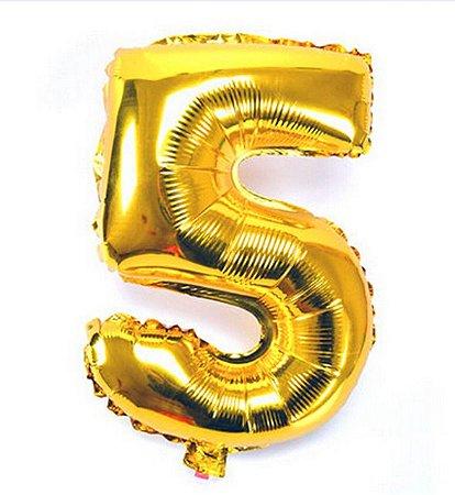 Balão Laminado Nº 5 Dourado C/ 40 Cm