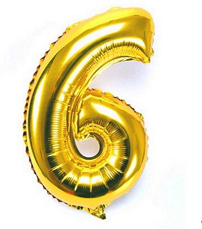Balão Laminado Nº 6 Dourado C/ 40 Cm