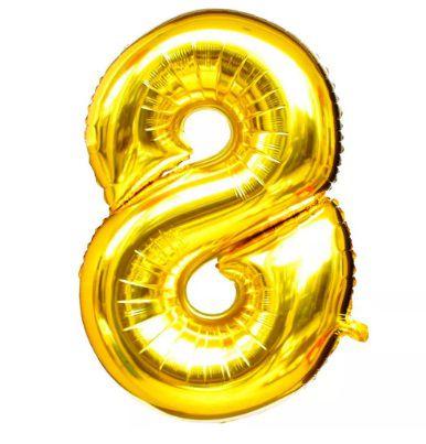 Balão Laminado Nº 8 Dourado C/ 40 Cm