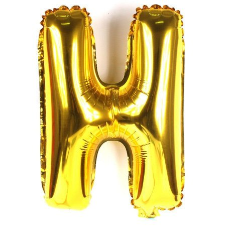 Balão Laminado Letra ''H'' Dourado C/ 70 Cm