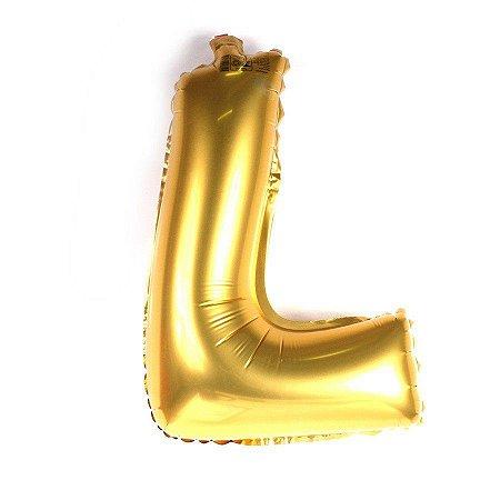 Balão Laminado Letra ''L'' Dourado C/ 70 Cm