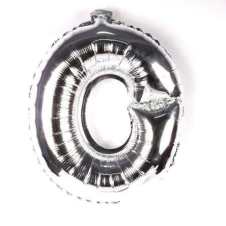 Balão Laminado Letra ''O'' Prata C/ 70 Cm