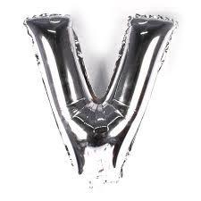 Balão Laminado Letra ''V'' Prata C/ 70 Cm