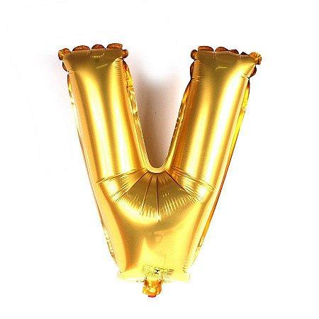 Balão Laminado Letra ''V'' Dourado C/ 70 Cm