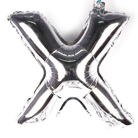 Balão Laminado Letra ''X'' Prata C/ 70 Cm