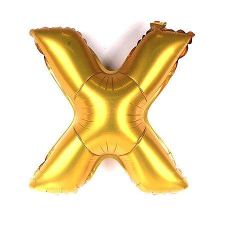 Balão Laminado Letra ''X'' Dourado C/ 70 Cm