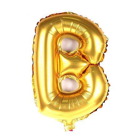 Balão Laminado Letra ''B'' Dourado C/ 40 Cm
