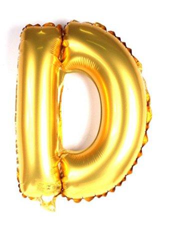 Balão Laminado Letra ''D'' Dourado C/ 40 Cm