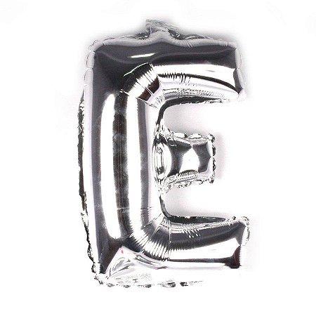 Balão Laminado Letra ''E'' Prata C/ 40 Cm