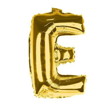 Balão Laminado Letra ''E'' Dourado C/ 40 Cm