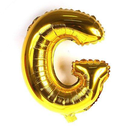 Balão Laminado Letra ''G'' Dourado C/ 40 Cm