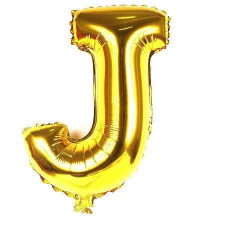 Balão Laminado Letra ''J'' Dourado C/ 40 Cm