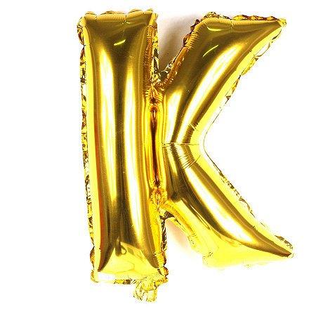 Balão Laminado Letra ''K'' Dourada C/ 40 Cm