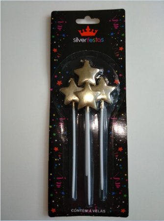 Vela Estrela Dourada Silver Festas C/ 4 Un.