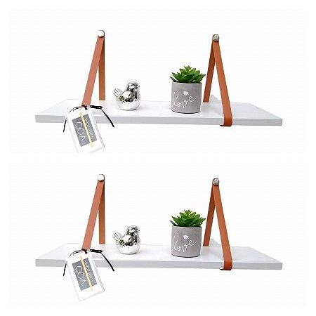Kit 2 prateleiras Branca com alça de couro caramelo 70 cm