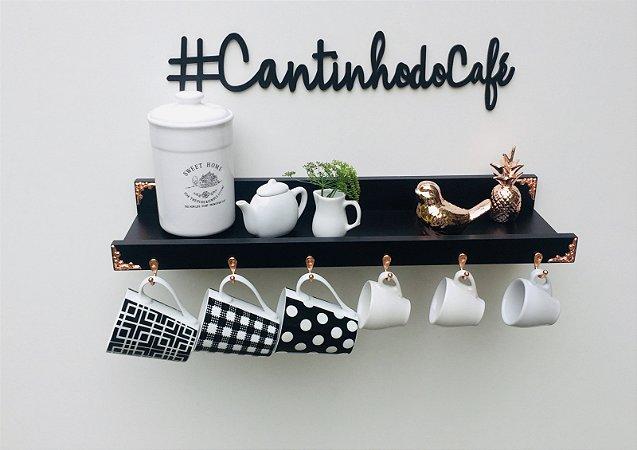 Cantinho do café preto rose gold + lettering