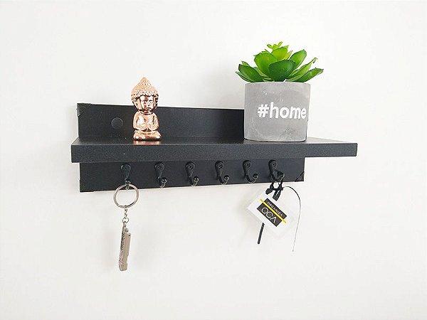 Porta chaves com prateleira Preto Total