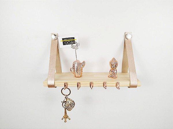 Porta chaves escandinavo pinus com couro rose gold