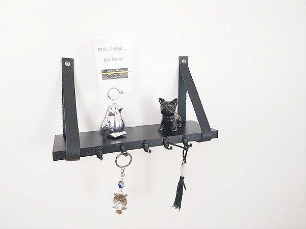 Porta chaves industrial  com couro legitimo preto