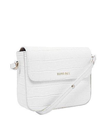 Bolsa Transversal Backpack Croco Branco Ellus